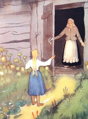 """K. Sūniņa ilustrācija pasakai """"Zelta ābele..."""