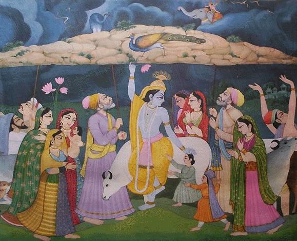 Krišna paceļ Govardhana kalnu, un gani paceļ savas nūjas, lai palīdzētu to turēt.
