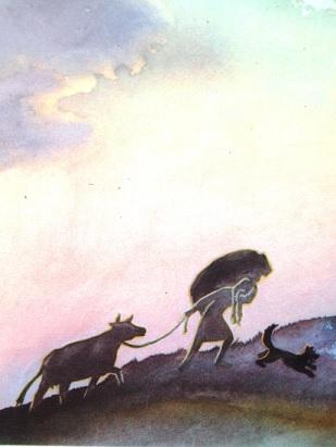 """Sūniņa ilustrācija pasakai """"Zelta ābele un sudraba avots"""""""